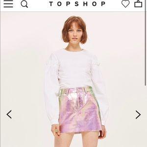 Iridescent mini skirt